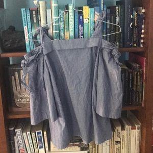 Blue striped cold shoulder top